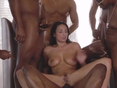 Anissa Kate is giving blowjobs to many black guys and getting fucked hard, all day long