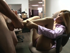 The Assistant Gives a Foot-Job!