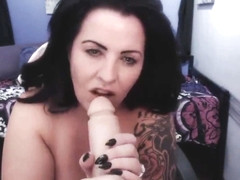 Paige London strip tease and titty fuck