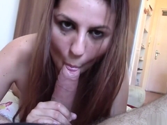 Euro babe Meg Magic sucking her lover's big pole