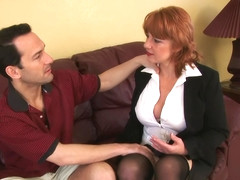 Mature redhead screams as he pounds her