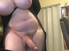 Busty trans with big hard cock on cam