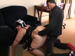 Chunky housemaid rides her employer
