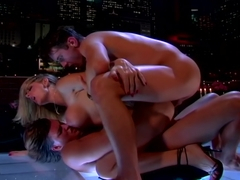 Vivacious Vicky Vette Doubly Stuffed On A Rooftop