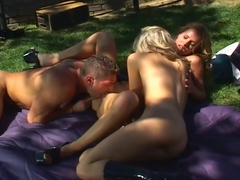 Two Sexy Sluts Fucked By Older Man Outdoors