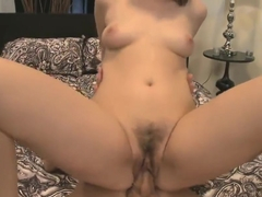 Brunette with small tits has cum running from her mouth after hard fuck