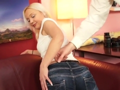 Blonde angel fucked on casting