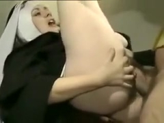 Lewd Nun Blows and Takes the Cock in Her Pussy and Ass