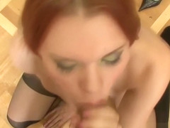 Hot Redhead Slut Sukcing Cock on Her Knees