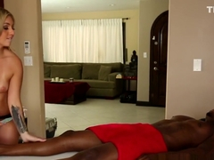 Masseuse Sucks and Tugs Big Black Cock