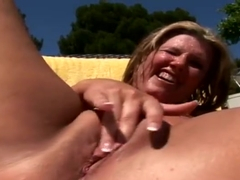 Pleasing plump experienced female Zoey Andrews is deepthroating the cock