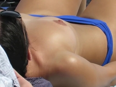 Sexy Amateur Topless Teen Voyeur Beach Close-up