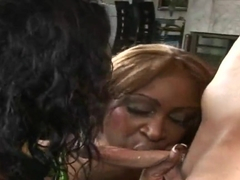 Two slutty ebonies Beauty Dior and Tosha pleasing one white cock