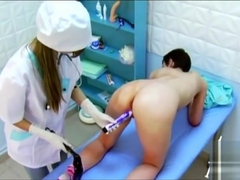Lezdom nurse ties up and violate dirty patient with gloves and toys