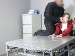LAW4k. Two police officers penetrate tight vagina of teen criminal