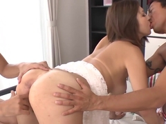 Sexy MILF Mai Kuroki Pounded And Creamed By Two Guys