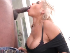 Busty blonde woman, Bridgette B likes to hook up with a black guy and fuck him