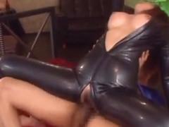 Wild hardcore sex in latex catsuit fuck