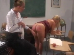 Horny teacher spanks a sexy cheerleader