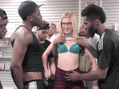 Alexa Grace sucks BBC's at adult bookstore
