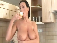 MILF Pandora playing with ice cream