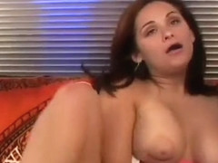 Busty gal fingers to orgasm then blows his big dong before ass fucking