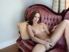 Brunette loves her smooth chrome vibrating toy
