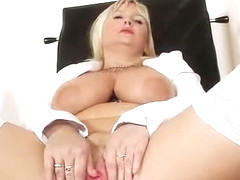 Strange blond-haired big tits mom in nurse uniform