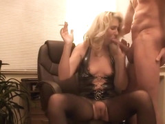 Smoking hot bitch in body stockings sucking a dick