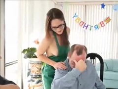 Cute Teen Whore Fucks Old Grandpa For His Birthday Gift