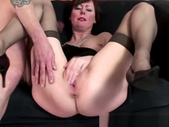 Mature stockings pussy pounded by dude