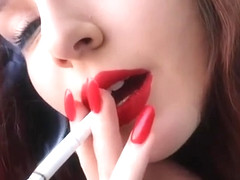 perfect red lipstick and nails seductive smoking close-up