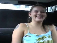 Spicy tattooed young whore Claire James outside