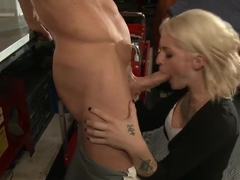 Tattooed Slut Kleio Valentien Takes Big Cock in the Garage