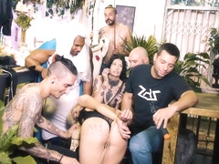 FORBONDAGE - Cute Russian Teen Aruna Aghora Taking BBC On Kinky Group Sex