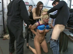 Busty Blonde Defiled in Public. Pretty Hair Used to mop up Oil