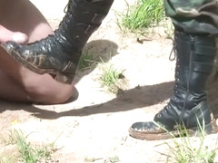 Lady Algeria military boots worship