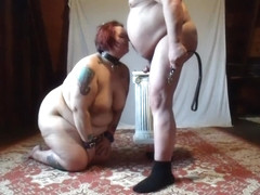 slave brittany sucking her Master's cock and get her ass beaten