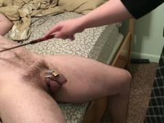 ball slapping my chastity locked husband with riding crop