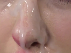 Horny centerfold gets jizz load on her face gulping all the jizz
