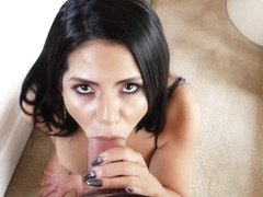 Sensual, Latin brunette, Rose Monroe likes to get cum on her face, after she gets fucked