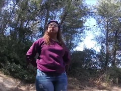 Cute teen leggins walk , piss , groping POV