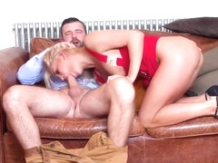 Tempting blonde woman in a sexy, red dress, Sienna Day gave a deep blowjob for money