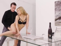 Alluring blonde Moka Mora gets banged on the desk