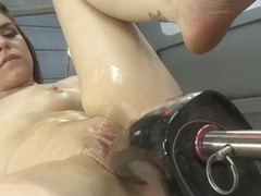Babe takes monster fucking machine up her ass