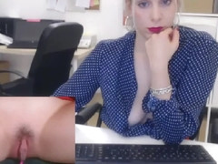 Horny Secretary masturbate pussy in office with boss - See more on: www.Secretcams.club