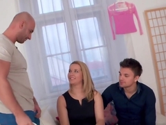 Busty milf cuckolds her hubby and gets banged
