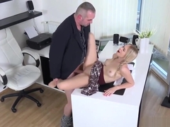 Sweet college girl is seduced and shagged by her elderly mentor