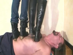 Boots trampling by 2 girls