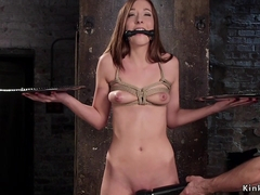 Babe with clamped tongue gets fucked